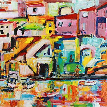 Procida Island Italy Oil Painting on Paper by Ginette