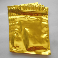 50 Gold Aluminum/foil Pouches, Mylar Ziplock Heat Seal Bags, Safe Food Storage, Smell Proof Product Packaging, Strong Survivalist Baggies!