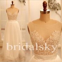 Long White Lace Prom Dresses See Through Bridesmaid Dresses Chiffon Party Dresses Formal Party Dresses 2014 Wedding Events