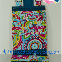 Women's Wallet Organizer with Card Slots - 2 in 1 - Teal Blue with Bright and Colorful Flowers
