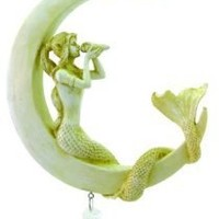 9.25 Inch Hand Painted Resin Cream Color Mermaid on Moon Dreamcatcher
