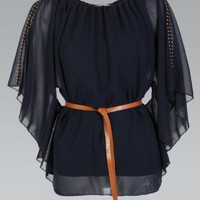 Navy Belted Batwing Stud Shoulder Chiffon Top
