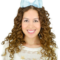 Blue Headband Bow Light Blue Hair Bow Light Blue headband black elastic headband stretchy headband stretch headband double layered bow band