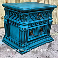 Gypsy Teal Night Stand/ End Table /Accent Table /TV Cabinet/ Living Room Storage/ Bedroom Side Table