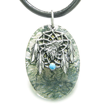 Howling Wolf Dreamcatcher Amulet Moss Agate Leather Pendant Necklace