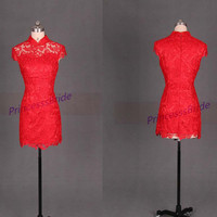 2014 short red lace homecoming dress,Chinese cheongsam bridesmaid dress hot,cheap vintage gowns for prom party.
