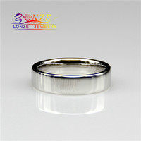 White Gold Ring 9k Solid Gold Fashion Flat Band Style Wedding Wide Band Width Ring for Men Matching Band Ring Fine Jewelry