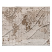 "Catherine Holcombe ""Emerald World"" Vintage Map Fleece Throw Blanket"