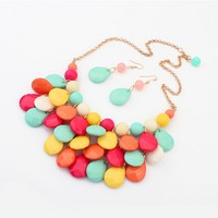 Beads Pendant Layered Necklalce Earrings Set