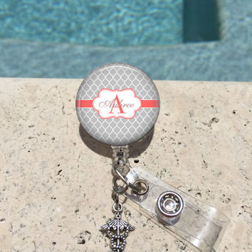 Monogram Badge Reel, Retractable Badge Holder, Personalized Badge Reels, Doctor Badge Reels, Nurse Badge Reels,RN BSN,LPN,Gray Quatrefoil