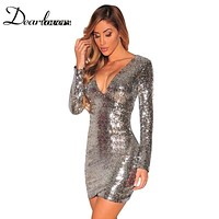 Sexy Silver Sequin Dress