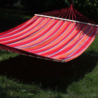 Naval-Style Cotton Fabric Canvas Hammock Tree Hanging Suspended Outdoor Indoor Bed Antigua Color 63 inches Wide