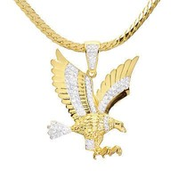 """Jewelry Kay style Men' Iced Out CZ Gold Plated Eagle Pendant 20"""" Miami Chain Necklace BCH 13585 TT"""