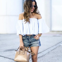 ♡ Sexy off shoulder cotton white blouse ♡
