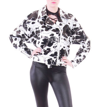 80s Vintage Wippette PVC Motorcycle Jacket Cropped Black and White Vinyl Batwing Metal Zippers Raincoat 90s Clothing Womens Size Medium Lrg