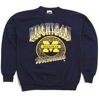 University of Michigan 3D Gradient Arch & Bar M Circle Design Tultex Crewneck Sweatshirt Navy (Women's Large)