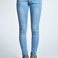 Cher Bleach Wash 5 Button Mid Rise Skinny Jeans