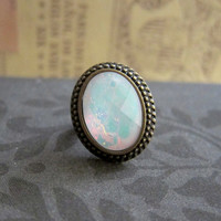 White Opal Ring Moonstone Aqua Turquoise Shimmer Faux Gem Stone Ring The Great Gatsby Vintage inspired Antique Brass LOTR Lord of the Rings
