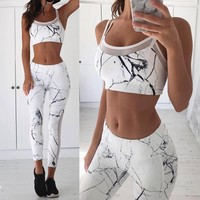Casual Gauze Multicolor Sleeveless Sport Vest Pants Sweatpants Sportswear Two-Piece Set