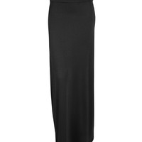 LE3NO Womens Full Lengh Stretchy Maxi Skirt with Cinching Waist (CLEARANCE)