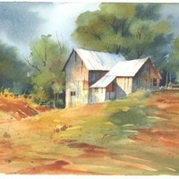 Morgans Barn approx. 6x10 watercolor | CShoresInc - Painting on ArtFire