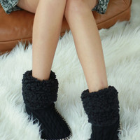 Knitted Chenille Slippers