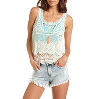 Pop Color Tiered Crochet Tank: Charlotte Russe