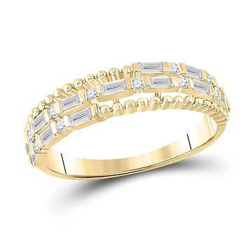 14k Yellow Gold Baguette Diamond Fashion Band Ring 3/8 Cttw