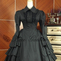 BLACK DRESS COSPLAY COTTON LONG SLEEVES GOTHIC GOTH