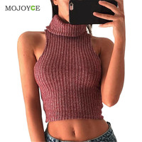 Turtleneck Thick Crochet Knitted Sweaters Pullovers Cropped Vest Autumn Winter Woman Top Sleeveless Women Sweaters and Pullovers