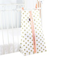 Coral Sunset, Papaya and Gold Dots Baby Bedding | Gold Dots on White, Coral Edge Diaper Stacker