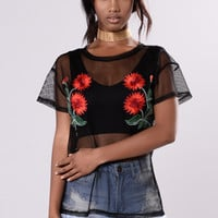 Nice Flowers Top - Black