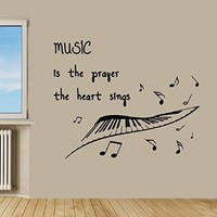Wall Decor Vinyl Decal Sticker Musical Notes Quote Music Is the Prayer the Heart Sings Kg459