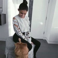 Autumn Women's Fashion Hot Sale Ladies Long Sleeve Ripped Holes Crop Top Round-neck Hoodies [10320563846]