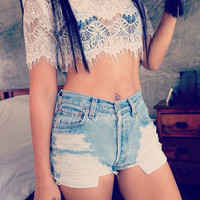 Boho bohemian hippie clothing levi high waisted shorts denim cut off