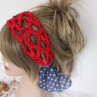 Red Crochet headband, Red Headband, Hippie headband, Red mesh tape, Red knitting headband, Handmade headband, Bohemian hair band, Red boho