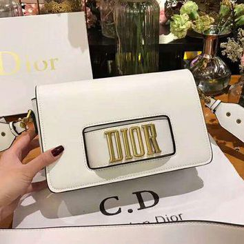 DIOR High Quality Classic Fashion Women Shopping Bag Leather Shoulder Bag Crossbody Satchel White