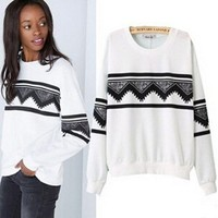 Towallmark(TM)Fashion Europe Womens Ethnic Print Blouse Hoodie Sweat Sweatshirt