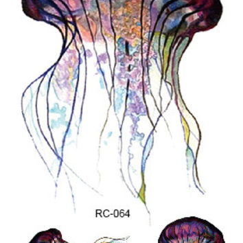 RC-064 Fashion Temporary Tattoo Stickers Beauty Body Art Jellyfish Colorful Fake Flash Taty Tattoo Water Transfer tatuaje Taty