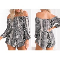 Sexy Off Shoulder Print Playsuits Rompers Long Sleeve Women Short Jumpsuits Summer Beach Playsuit Overalls