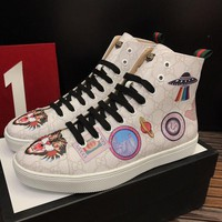 Gucci Man or Woman Fashion Print Pattern Strappy Casual Shoes