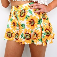 TROPICAL SUNFLOWER PRINTS HIGH WAISTED FLARE SKIRTY MINI BEACH SHORTS 6 8 10 12