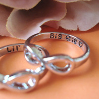 """Set of 2 Infinity Rings...silver """"Big Sis and Lil Sis with a heart"""" custom engraved ring , big and little sisters ring, forever and always"""