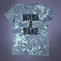 Grunge Stoner Clothing Wake And Bake Slogan Shirt Weed Marijuana Cannabis Tumblr T-shirt