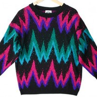 Shop Now! Ugly Sweaters: Bright Zig Zag Vintage 80s Acrylic Tacky Ugly Sweater Women's Plus Size 22W (2X) $18 - The Ugly Sweater Shop