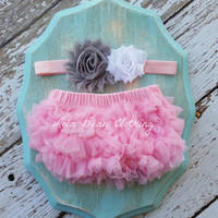 Pink Baby Bloomers Grey White Pink Headband Set Take Home Outfit Newborn Photography Prop Cake Smash 1st Birthday Outfit