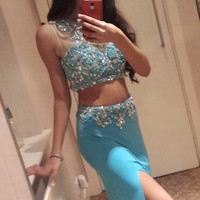 Prom Dresses Ice Blue 2 Pieces Long Front Split Charming Prom Dresses