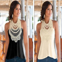 SIMPLE - Floral Printed Sleeveless Top T-Shirt a11552