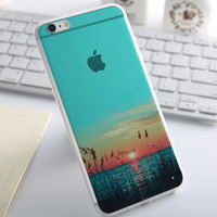 Fashion Thin Soft Silicone Lake Creek Transparent Back Cover Case For Apple iPhone SE 5s / 6 6s / Plus