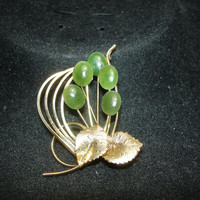Jade and Leaf Gold Tone Brooch/Pin